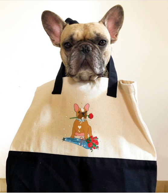 """Monsieur Frenchy"" Tote Bag for Dog Stuff"