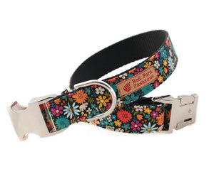 Custom dog collar and leash floral print