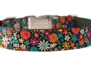 Custom dog collar and leash floral print in orange and turquoise