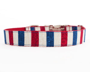 Patriotic Dog Collar - Red, White & Blue Stripes 4 of July Dog Collar