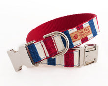 Load image into Gallery viewer, Patriotic Dog Collar - Red, White & Blue Stripes 4 of July Dog Collar