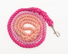 Load image into Gallery viewer, Pink Watermelon Dog Collar and Leash Set for Girls - Ombre Rope Leash - Martingale or Buckle Collar - Hand Dyed Cotton Rope Dog Leash