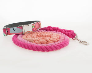 Custom Dog  Leashes and Collar, Pink Watermelon Dog Collar and Leash Set for Girls - Ombre Rope Leash - Martingale or Buckle Collar - Hand Dyed Cotton Rope Dog Leash