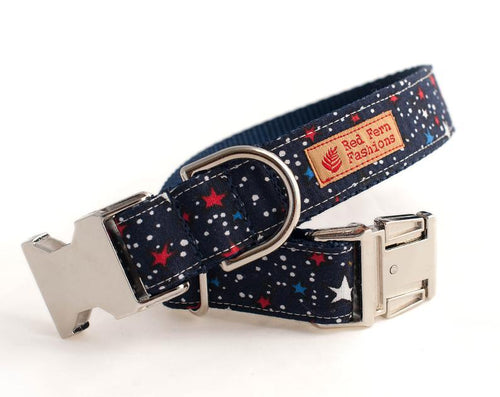 Patriotic Dog Collar- Stars Dog Collar, Red, White & Blue