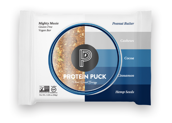 Mighty Moxie (Cocoa, Cashew, Cinnamon) (16 - 3.25oz Bars) - Protein Puck