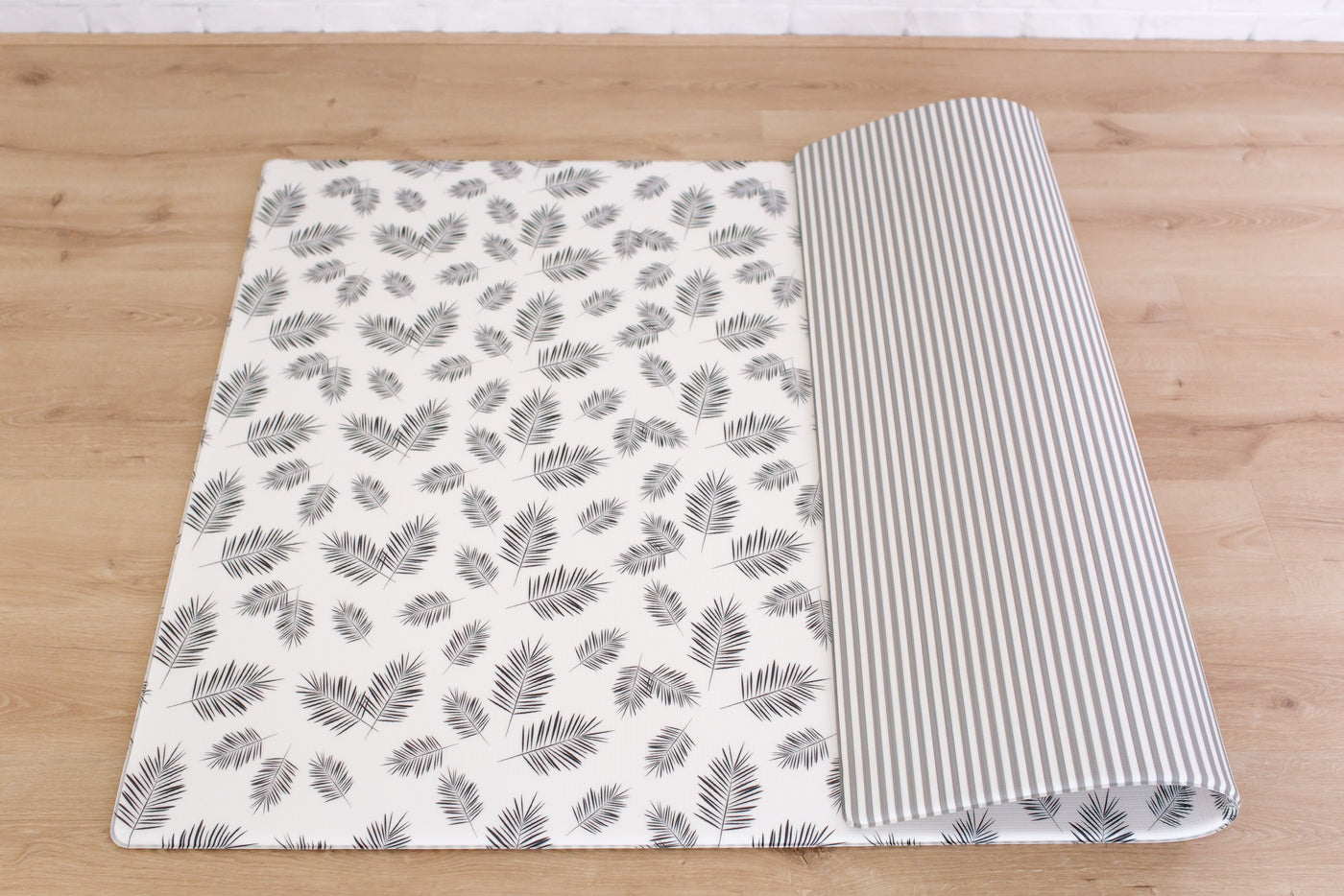 LARGE: Palm Leaf / Grey Stripes Play Mat (NEW WIDER STRIPES)
