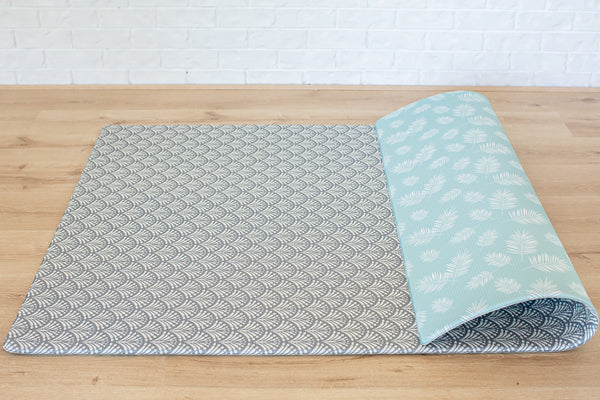 *NEW* LARGE: Mint Palm Leaf / Grey Scallops Play Mat