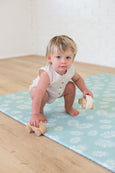LARGE: Mint Palm Leaf / Dark Grey Scallops Play Mat