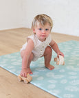 SMALL: Mint Palm Leaf / Dark Grey Scallops Play Mat