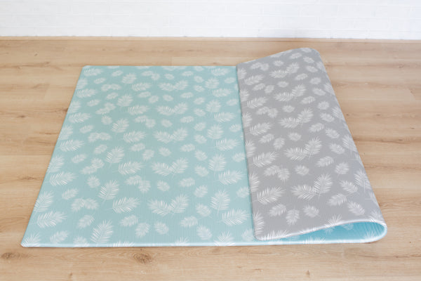 LARGE: Mint Palm Leaf / Grey Palm Leaf Play Mat