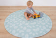 ROUND: Mint Palm Leaf / Dark Grey Scallops Play Mat