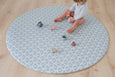 * NEW * ROUND: Dusty Blue Scallops / Dark Grey Scallops Play Mat