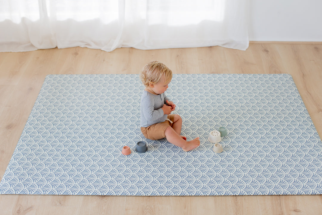 * NEW * LARGE: Dusty Blue Scallops / Dark Grey Scallops Play Mat