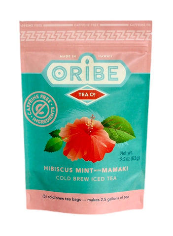 Caffeine Free Hibiscus Tea- Hibiscus Mint with Mamaki Cold Brew Tea, no caffeine. Made in Hilo, Hawaii from 100% Organic Ingredients, Featuring Endemic Hawaiian Mamaki Tea.