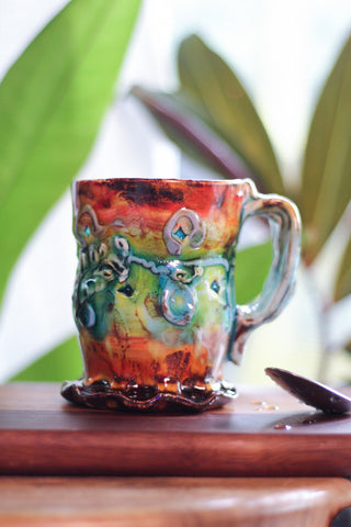 Handmade ceramic mugs by artist Lisa Orr