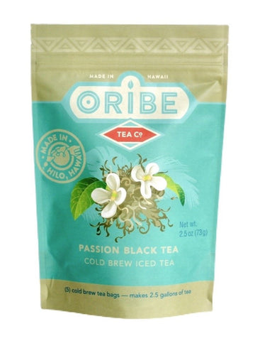 Passion Fruit Black Tea- Cold brew passion fruit black tea made by Oribe Tea Company has a delicious tropical flavor. Made in Hilo Hawaii