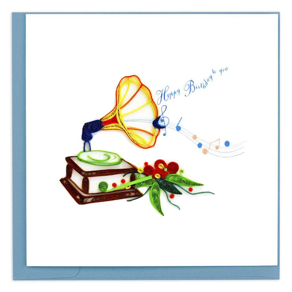 Quilled Phonograph Greeting Card