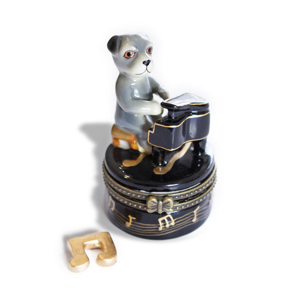 Dog Playing Piano Porcelain Box