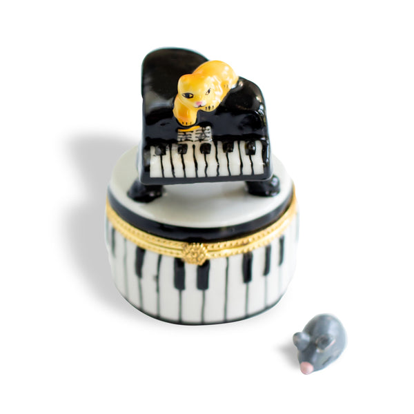 Cat on Piano Round Porcelain Box