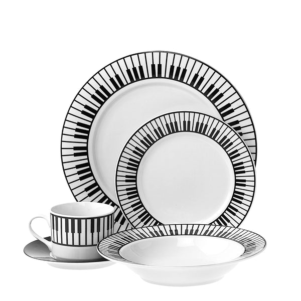 Porcelain Keyboard 5-pc. Dinnerware Set