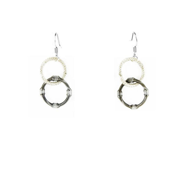 Piano Wire Earrings - Silver/Slate Double Loop