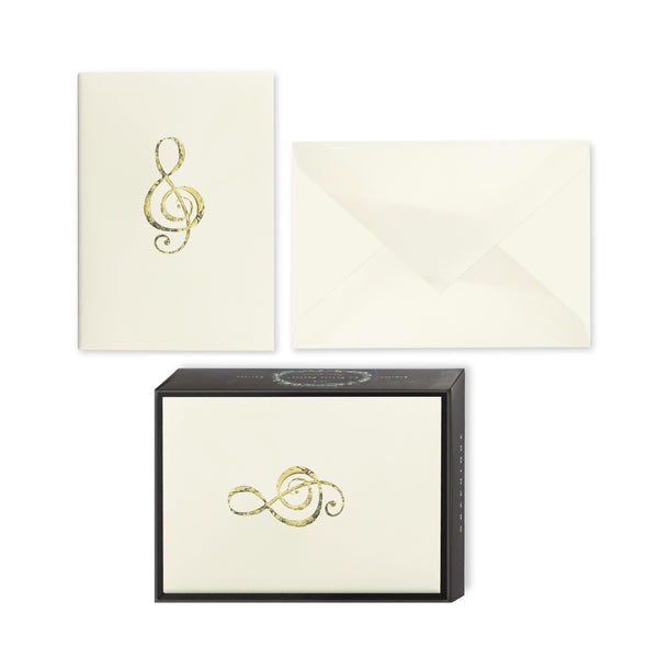 Antiqued Gold Treble Clef Boxed Notes