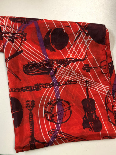 Red Silk Instruments Scarf