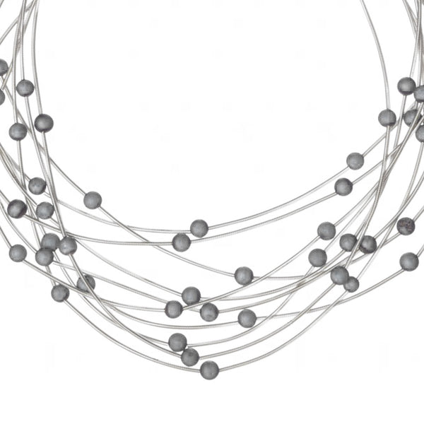 Multi-Strand Piano Wire Necklace with Agate