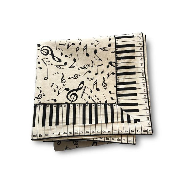 Square Table Skirt with Notes and Piano Key Border