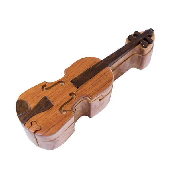 Violin Inlaid Wood Puzzle Box