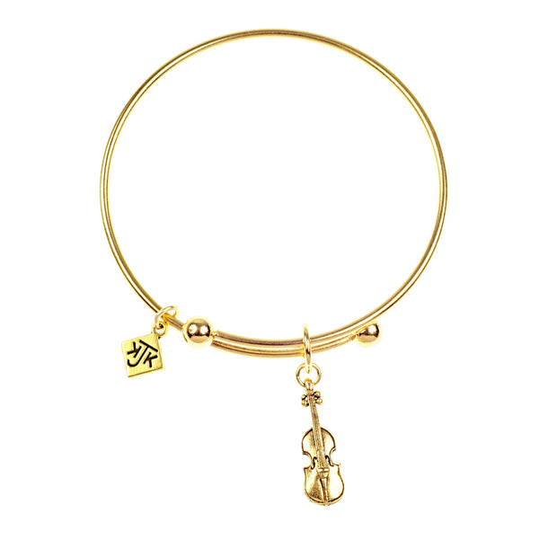 Violin Bangle Bracelet, Gold