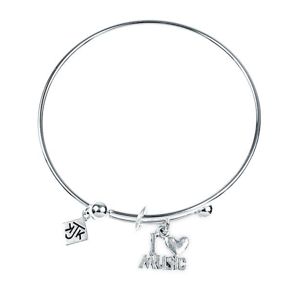 I Love Music Bangle Bracelet, Silver
