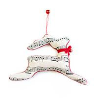 Linen Reindeer Ornament with Music Notes