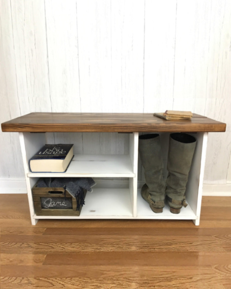 The Putnam Entryway Bench Solid Wood Handmade Bench With Shoe Storage