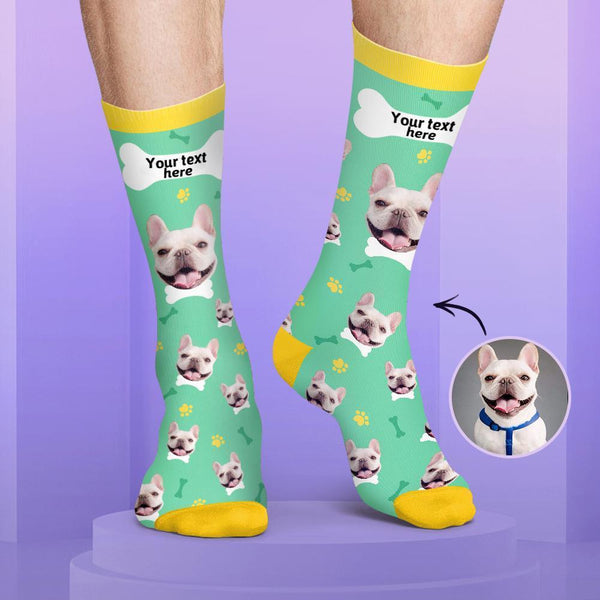 Custom Dog Face and Name Candy Colors Socks