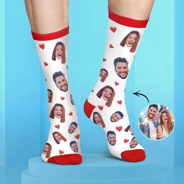 Custom Couple Face Socks Colorful Candy Series
