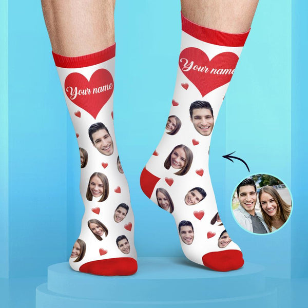 Custom Couple Face and Name Socks Candy Colors