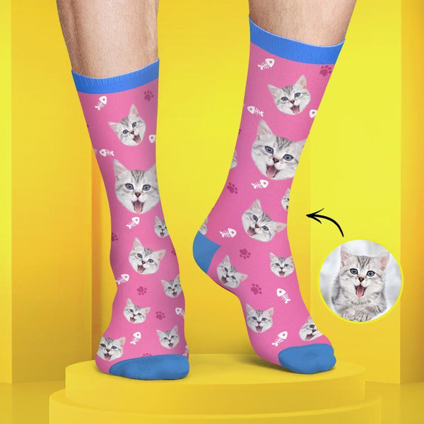 Custom Cat Face Socks Colorful Candy Series