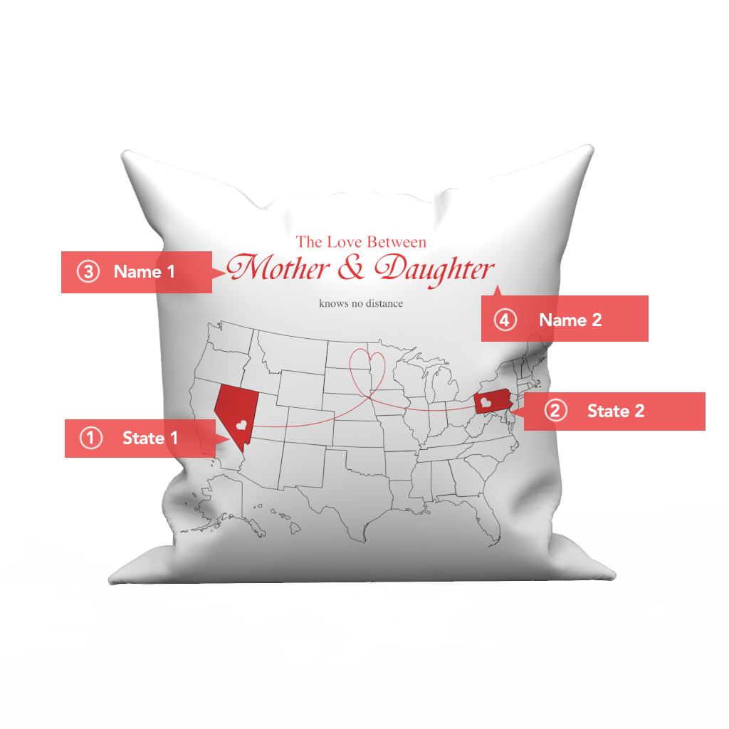 United States map - Custom the love pillow case - Love knows no distance