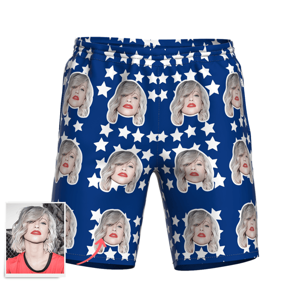 Men's Custom Face and Star Elastic Beach Short Pants