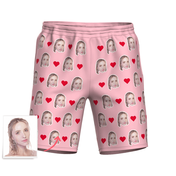 Men's Custom Heart Face Elastic Beach Short Pants