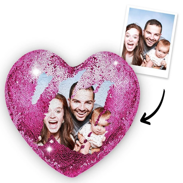 Custom Photo Magic Heart Sequin Pillow Purple