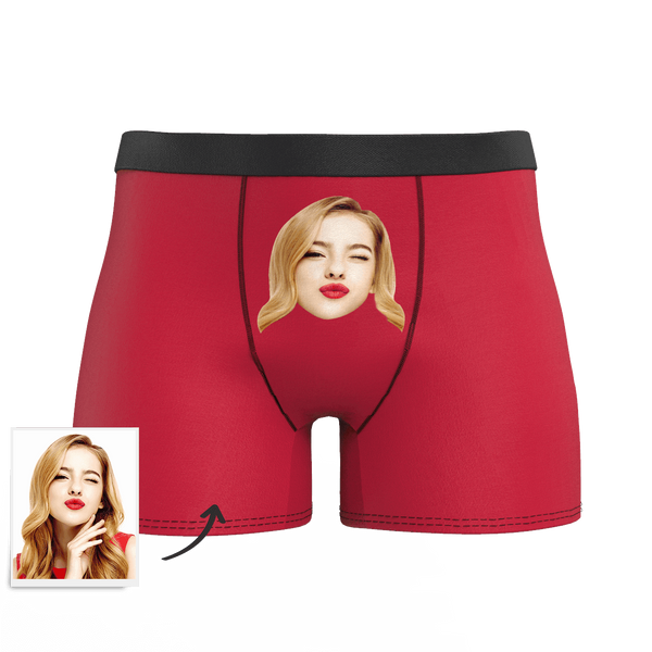 Red Custom Men's Face Colorful Boxer Shorts