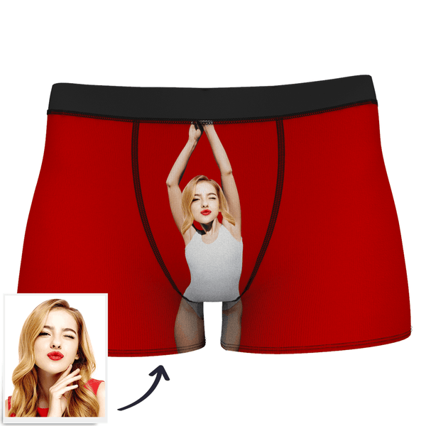 Red Men's Custom Face On Body Boxer Shorts - White vest
