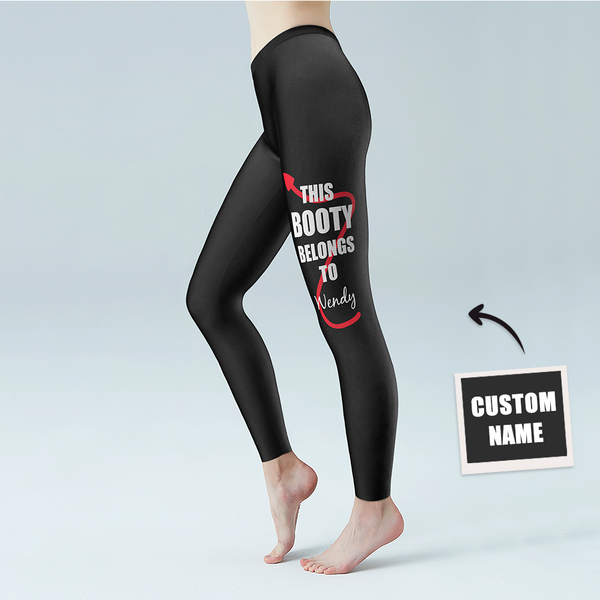 Women's Yoga gym pants Custom Name Leggings - THIS BOOTY BELONGS TO NAME