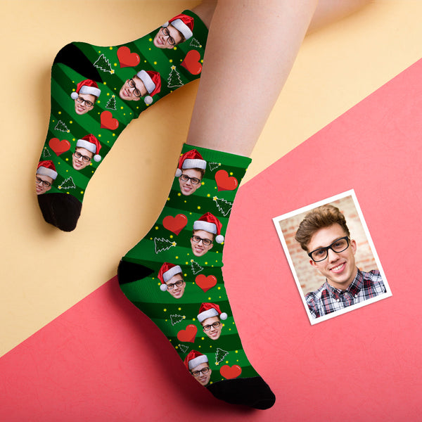 Christmas Gift Custom Face Socks (Heart)