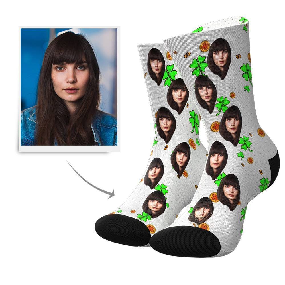 Lucky Clover Custom Face Socks