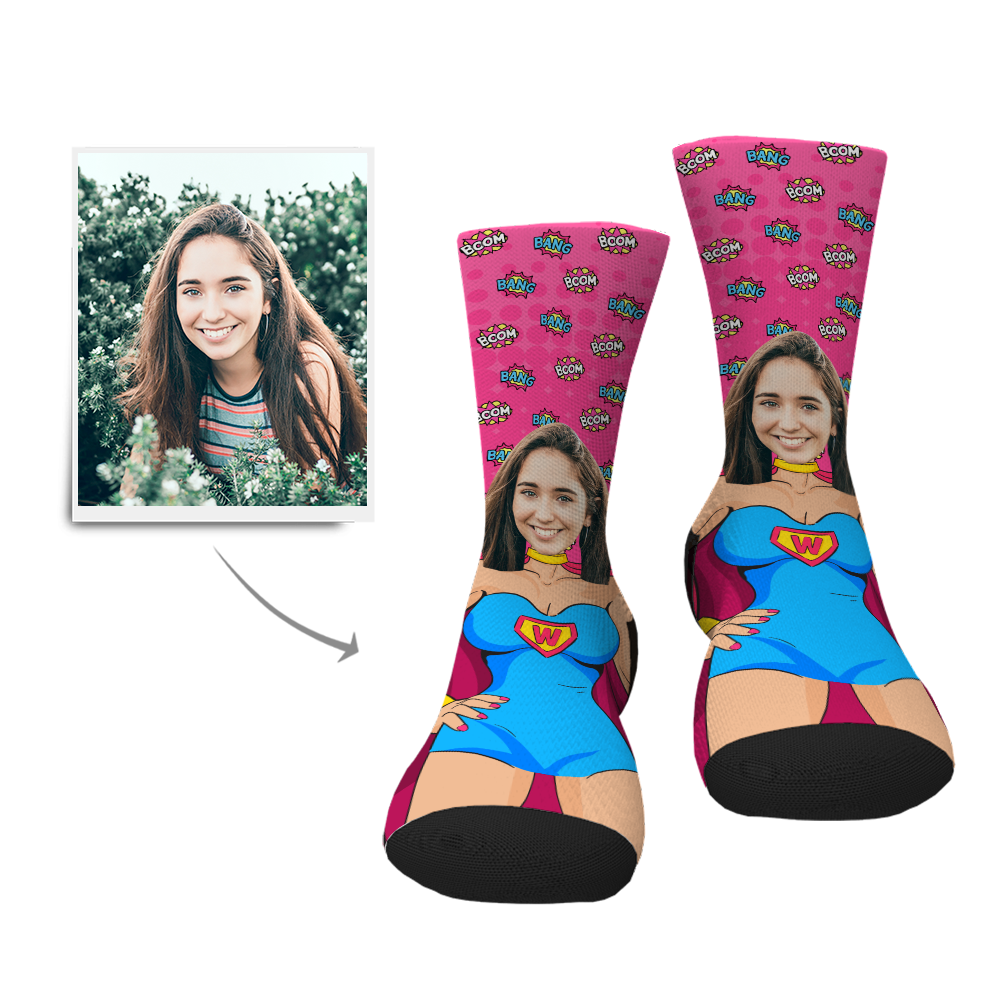 Custom Superwoman Face Socks