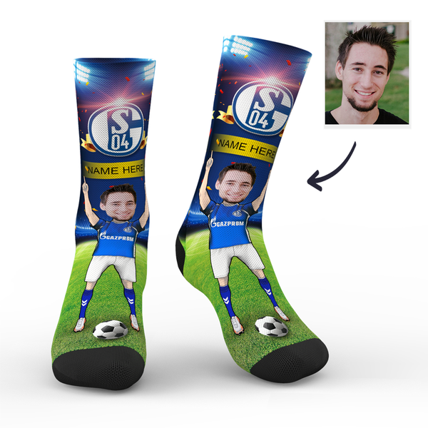 Custom FC Schalke 04 Super Fans Face Socks | Bundesliga 2019/20 Season