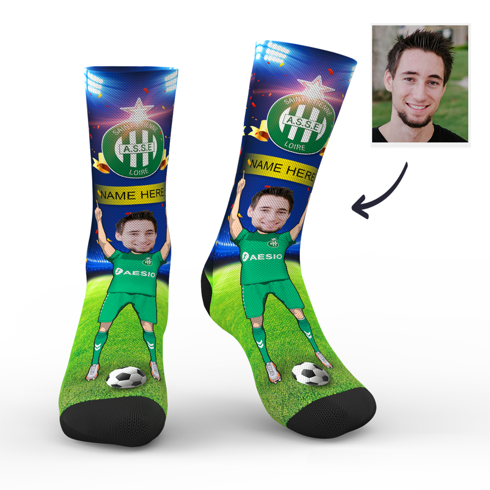 Custom AS Saint-Étienne Super Fans Face Socks | Ligue 1 2019/20 Season